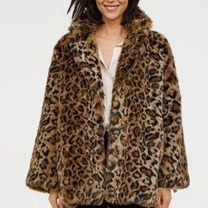 H&M Animal Print Faux Fur Coat